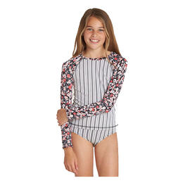 Billabong Girl's Ditsy Soul Longsleeve Rashguard Swim Set