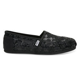 Toms Women's Black Sequin Glitz Seasonal Classic Slip-on Shoes