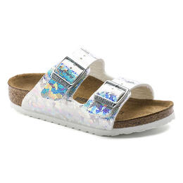 Birkenstock Girls Arizona Birko Flor Casual Sandals Hologram Silver