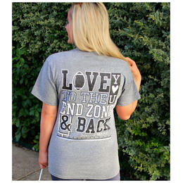Jadelynn Brooke Women's Love You to the End Zone & Back V-Neck Short Sleeve Tee