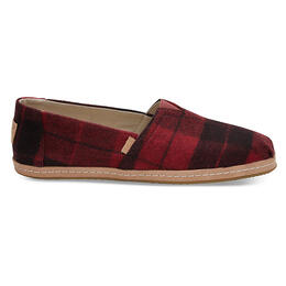Toms Women's Alpargata Red Plaid Felt Casual Shoes