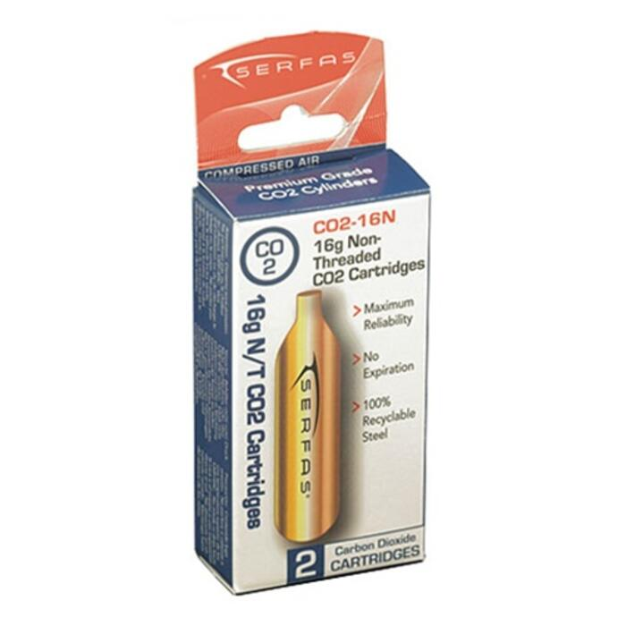 Serfas 16g Co2 Non-threaded 2pk