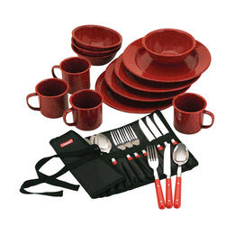 Coleman 24-Piece Enamel Dinnerware Set