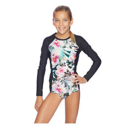 Next By Athena Girl's Undercover Tropics Long Sleeve Rashguard Swim Set