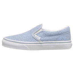 Vans Girl's Classic Slip On Youth Casual Shoes Blue