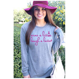 ATX Mafia Women's Wine a Little Longsleeve Tee Shirt