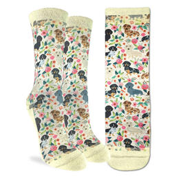 Good Luck Socks Women's Floral Dachshunds Socks