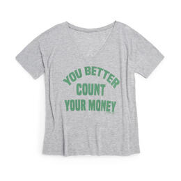 Oil Digger Tees Women's You Better Count Money V Neck T Shirt
