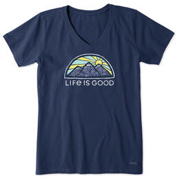 Life Is Good Women's Flower Mountain Crusher-Lite Vee T Shirt
