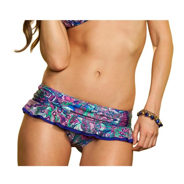 Becca Women's Gypsy Blues Ruffle Skirty Bikini Bottom