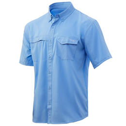 Huk Men's Tide Point Woven Short Sleeve Button Up Fishng Shirt