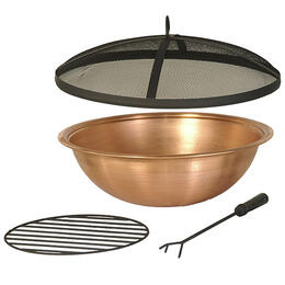Hanamint Copper Firepit Bowl and Accessories
