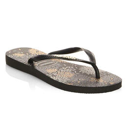 Havaianas Women's Slim Logo Metallic Bloom Sandals