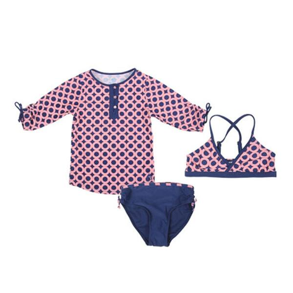 Cabana Life Girl's Mod Squad Swim And Rashguard Set