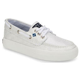 Sperry Girl's Crest Resort Boat Shoes White/Silver