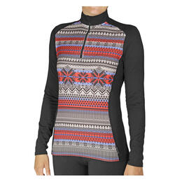 Hot Chillys Women's Mtf4000 Print Zip-T Baselayer Top