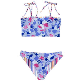 Splendid Girl's Floral Flury Reversible Tube Swim Set