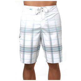 O'neill Men's Santa Cruz Plaid Boardshorts, White