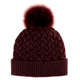 Mitchies Matchings Women's Braided Knit Beanie With Fox Pom