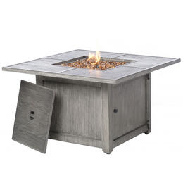 "Alfresco Home Tahoe 40"" Square Gas Fire Pit Chat Table with Burner"