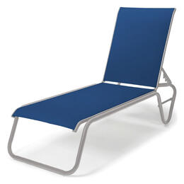 Telescope Casual Gardenella Sling Four-Position Lay-Flat Stacking Armless Cobalt Chaise Lounge Chair