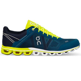 On Men's Cloudflow Running Shoes, Petrol/Neon