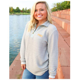 Jadelynn Brooke Women's Quarter Zip Boyfriend Pullover Jacket