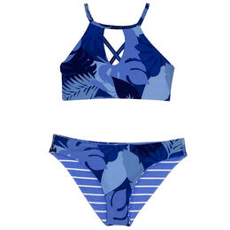 Splendid Girl's Reversible High Neck Swim Set