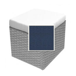 North Cape Cambria Cube Ottoman Cushion - Spectrum Indigo W/ Dove Welt