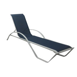 Casual Classics White Navy Sling Chaise Lounge Chair