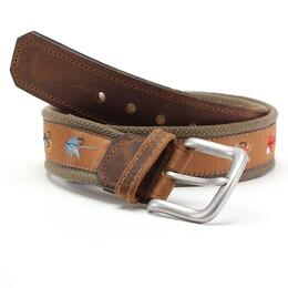 Bison Men's Leather Tip Pontoon Belt 38mm