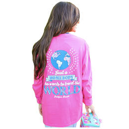 Jadelynn Brooke Women's Just a Homebody Who Wants to Travel the World Longsleeve Tee
