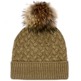 Mitchies Matchings Women's Knit Hat With Racoon Pom
