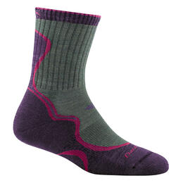Darn Tough Vermont Women's Light Hiker Micro Crew Light Cushion Sock Moss/Eggplant