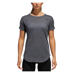 Adidas Women's Performer Trend Short Sleeve Training Shirt Dark Grey Heather