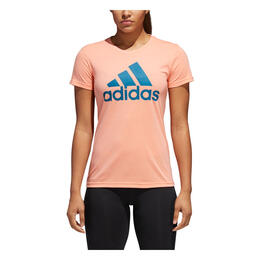 Adidas Women's Badge Of Sport Classic Short Sleeve T Shirt Coral