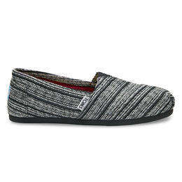 Toms Women's Silver Metallic Stripe Seasonal Classic Slip-on Shoes