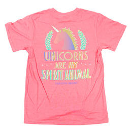 Jadelynn Brooke Women's Unicorns Are My Spirit Animal Short Sleeve Tee Shirt