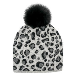 Mitchies Matchings Women's Knitted Animal Print Beanie With Fox Fur Pom