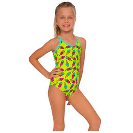 InGear Fashions Girls' Printed Lattice One Piece Swimsuit