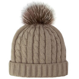Mitchie's Matchings Women's Fox Fur Pom Cable Knit Hat