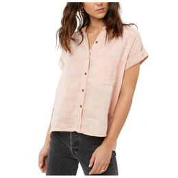 O'neill Women's Neena Solid Camp Short Sleeve Button Up Top