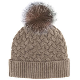 Mitchies Matchings Women's Knit Hat With Fox Pom