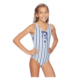 Splendid Girl's Tie Dye Stripe One Piece Swimsuit