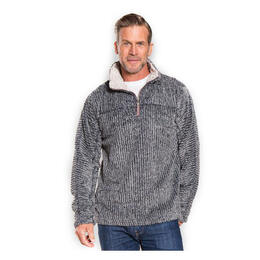 True Grit Men's Frosty Cord Pile 1/4 Zip Sweater