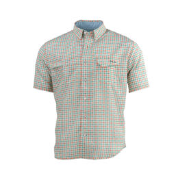 Huk Men's Tide Point Woven Plaid Short Sleeve Button Up Fishing Shirt
