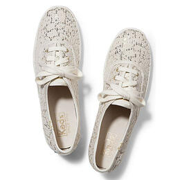 Keds Women's Champion Leopard Flocked Sequin Casual Shoes