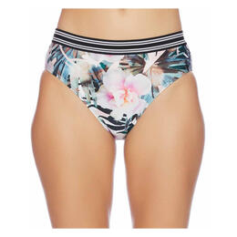 Next By Athena Women's Undercover Tropics Alignment Banded Retro Swim Bottoms