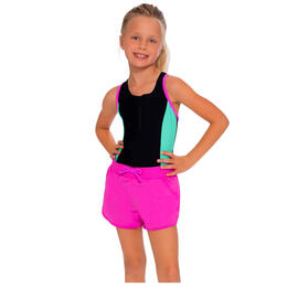 InGear Fashions Girls' Zipper Racerback One Piece Swim Short Set