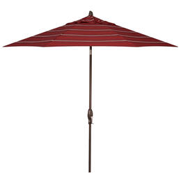 Treasure Garden 9' Auto Tilt Harper Crimson Stripe Octagon Umbrella